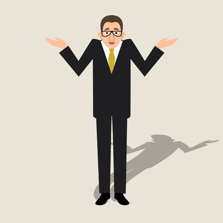 Man raises his hands in bewilderment vector illustration