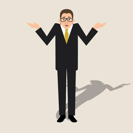 Man raises his hands in bewilderment vector illustration