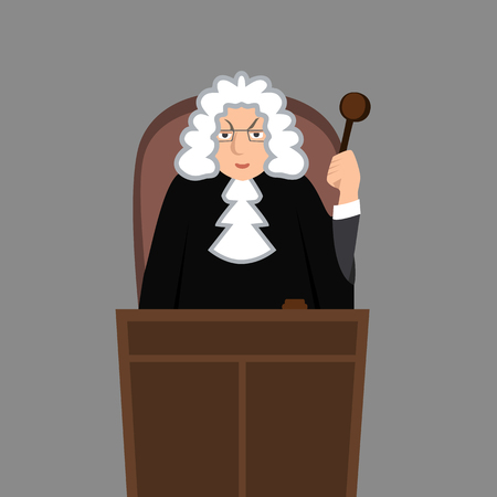 Judge in mantle vector cartoon illustration design character