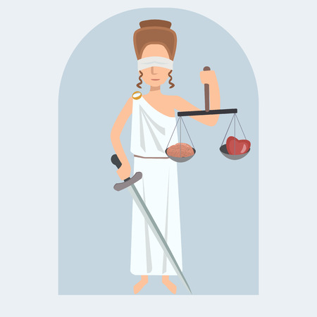 Lady Justice  vector cartoon  with brain and heart on balance Illustration