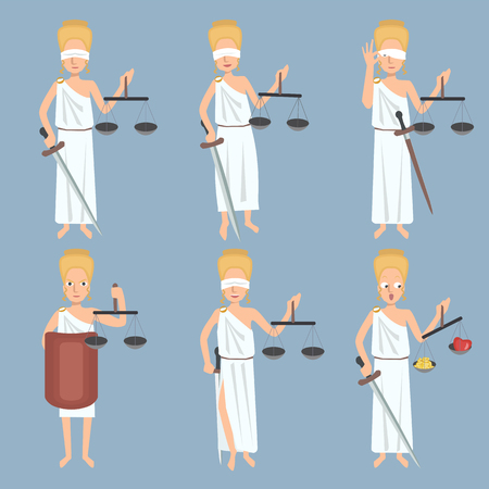 Lady Justice funny poses set vector cartoon Illustration