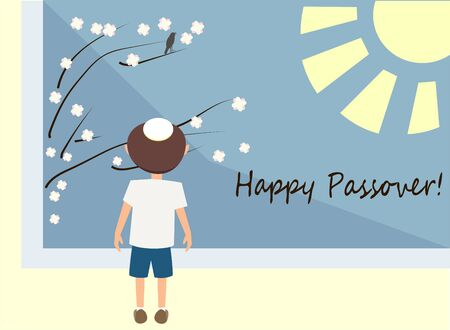passover greetings as spring holiday - vector cartoon illustration in flat style