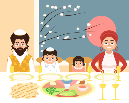 jewish family at feast of passover - funny vector cartoon illustration in flat style Çizim