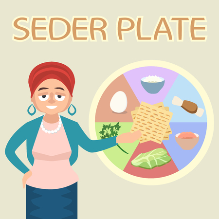 jewish female character explaining seder plate - colorful vector cartoon illustration in flat style