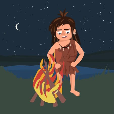 primitive watching bonfire  - funny vector cartoon illustration in flat style