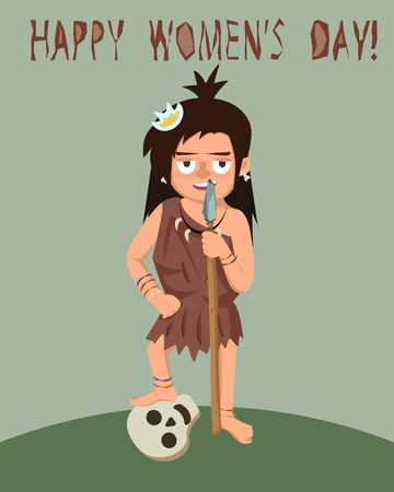 primitive woman with spear and enemy skull, womens day greeting - funny vector cartoon illustration in flat style Illustration