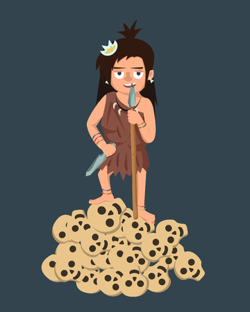 primitive girl with spear and enemy skulls - funny vector cartoon illustration in flat style of strong woman