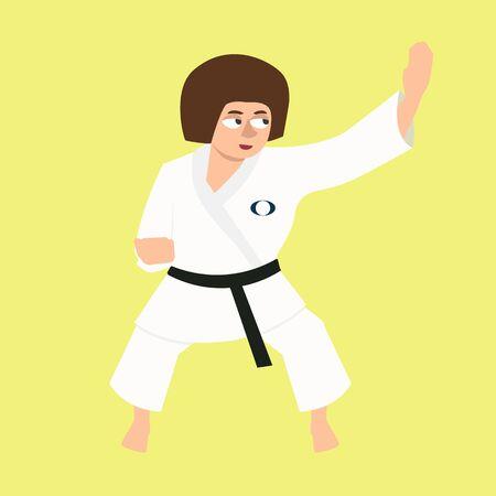 Girl doing karate kata - funny vector cartoon illustration in flat style