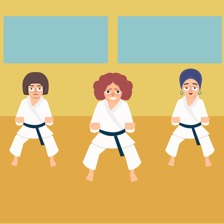 Karate lesson for women - funny vector cartoon illustration in flat style