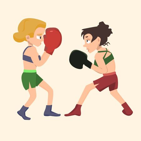 Two girls boxing, female sparring - funny vector cartoon illustration in flat style