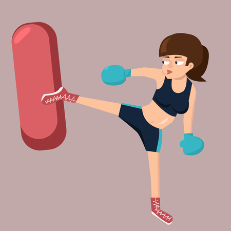 Woman kicking punching bag - funny vector cartoon illustration in flat style