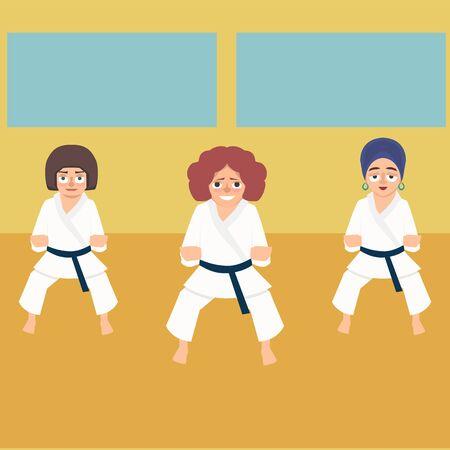karate lesson for women vector cartoon