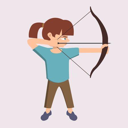 girl shoots with arrow vector cartoon
