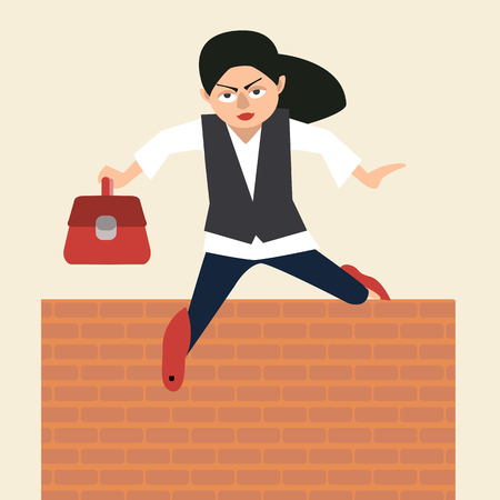 woman in suit jumps over obstacle vector cartoon