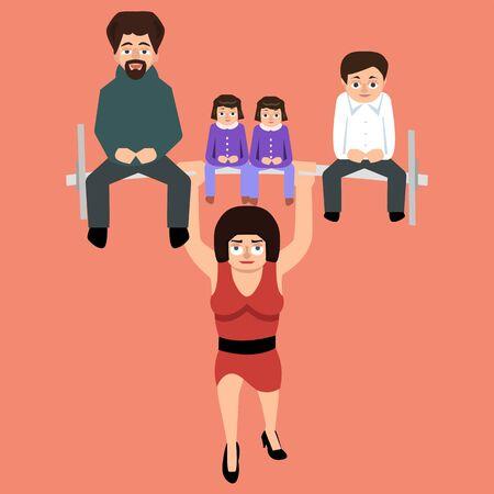 女性は彼女の家族をサポート - フラットスタイルで強い女性の面白いベクトル漫画のイラスト