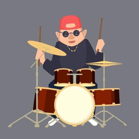 Cartoon drummer boy in baseball cap vector illustration.