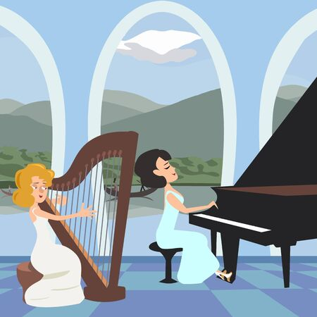 womens musical performance at romantic hall with harp and piano - vector cartoon illustration in flat style