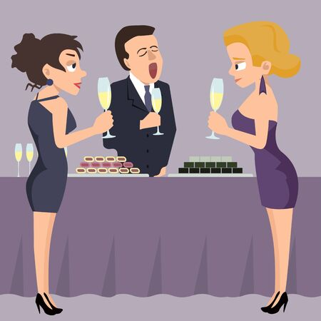 People partying and drinking, funny vector cartoon Ilustrace