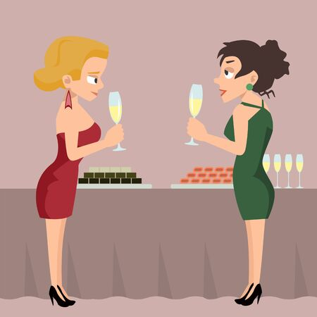 Two women with drinks at reception talking vector cartoon.
