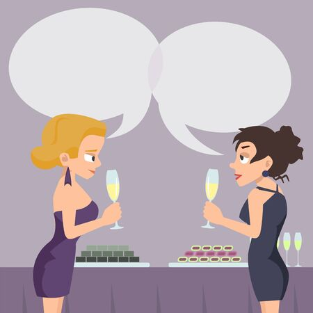 Two women with speech bubbles talking and drinking vector cartoon.