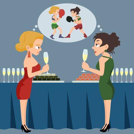 Hypocrisy of womens, talking in cartoon illustration.