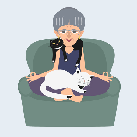 Old lady meditating at home with cats vector cartoon