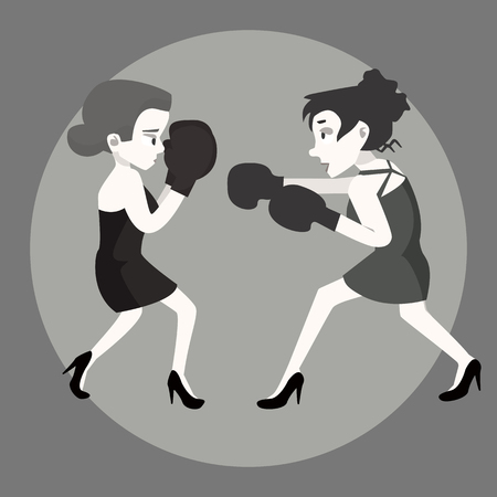 Two women boxing in their heels.