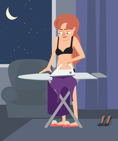 girl getting ready for a late party vector cartoon