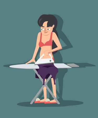 girl in underwear ironing gown vector cartoon