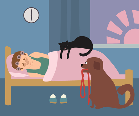 Woman sleeping with cat and dog.