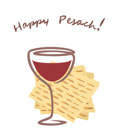 happy pesach vector greetings with wineglass.