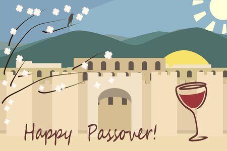 pesach greetings, Jerusalim spring view vector background Stock Illustratie