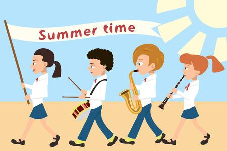 kinderen processie met vlag en muziekinstrumenten, cartoon vectorillustratie in vlakke stijl