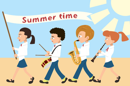kids procession with flag and musical instruments, vector cartoon illustration in flat style