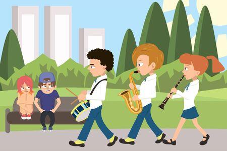 Street orchestra at the city park vector cartoon
