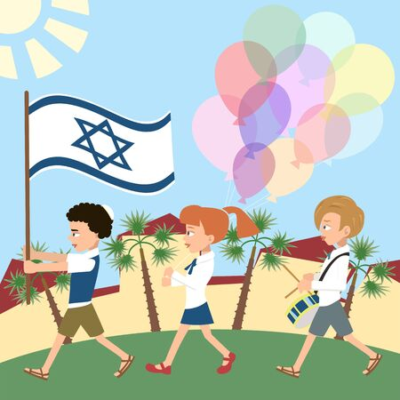 Kids marching with israel flag Vectores