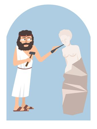 Flat art of ancient Greek sculpting the figure of woman on colored illustration. Illustration