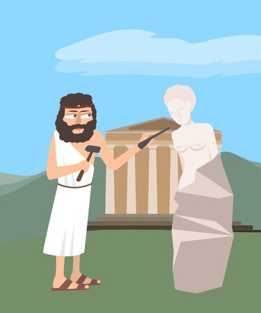 Ancient greek sculptor at work vector cartoon illustration in flat style Vettoriali