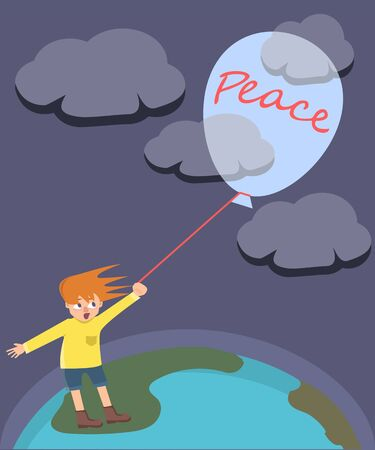 Little boy trying to hold a balloon with allegory of peace on colored illustration. Stock fotó - 99553648