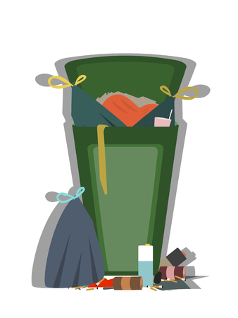 outdoor trash can full of garbage isolated vector