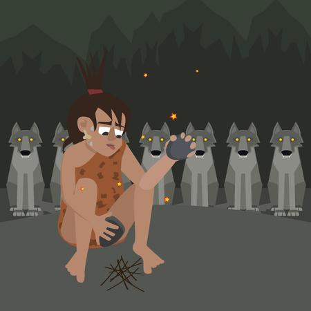 caveman at night surrounded by predators vector cartoon Vectores
