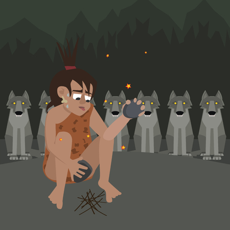 caveman at night surrounded by predators vector cartoon Illustration