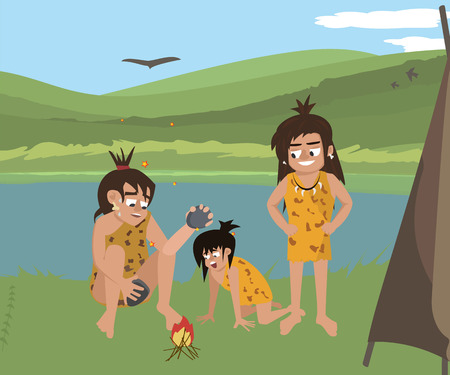 caveman family at wild nature landscape vector cartoon