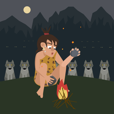 fire protects a caveman from predator vector cartoon Illustration