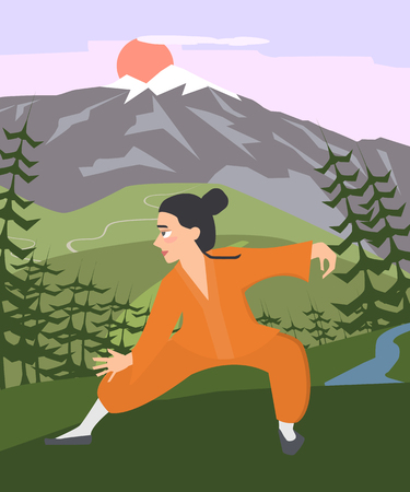 young guy practicing tai chi at mountain landscape vector