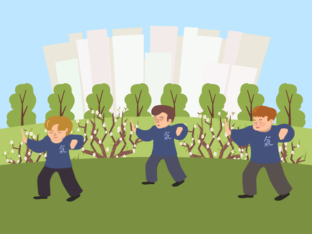 People practicing tai chi at the park vector cartoon illustration in flat style