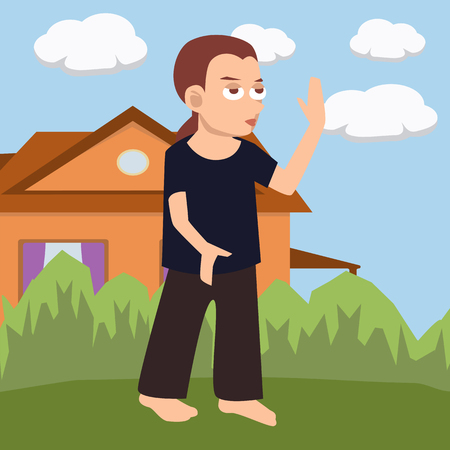 Woman practicing tai chi in the courtyard, vector cartoon illustration in flat style