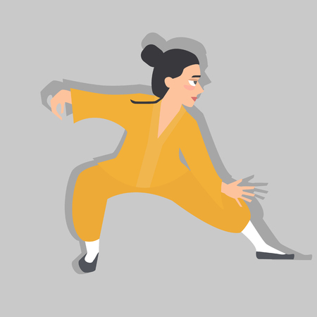 Young person practicing tai chi, vector cartoon illustration in flat style, isolated