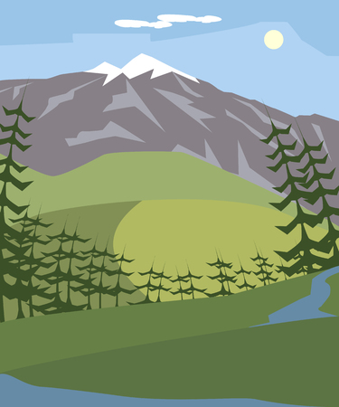 europe mountain landscape vector background