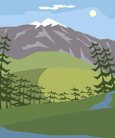 europe mountain landscape vector background